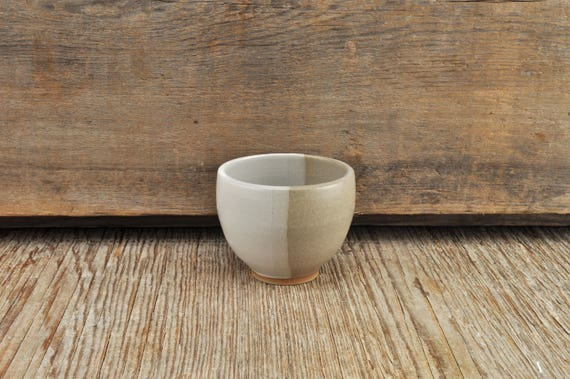 Two-tone satine glaze stoneware espresso / tea cup