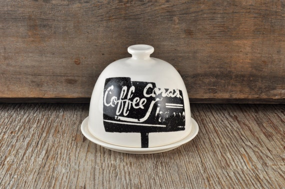 MEDIUM porcelain butter dish with vintage COFFEE SHOP signs
