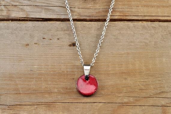 SMALL glossy red round stoneware pendant