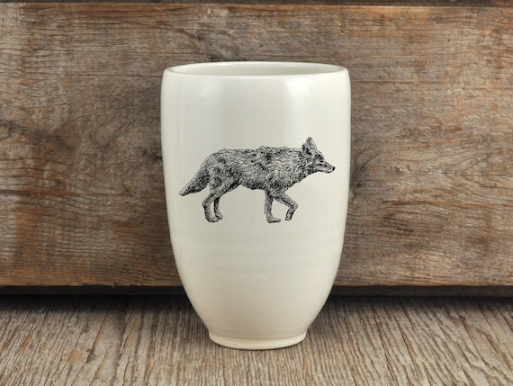 Handmade Porcelain beer tumbler with coyote drawing Canadian Wildlife collection