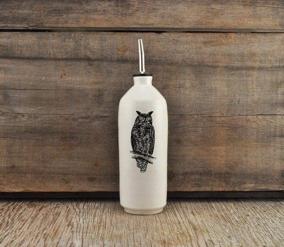 Handmade white glossy porcelain cruet with Great Horned Owl drawing by Cindy Labrecque, Canadian Wildlife collection