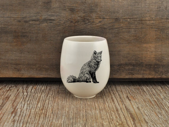 Handmade Porcelain wine tumbler with red fox drawing Canadian Wildlife collection