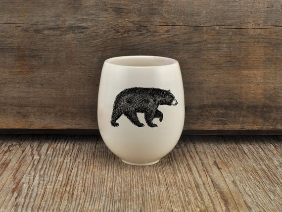 Handmade Porcelain wine tumbler with American black bear drawing by Cindy Labrecque, Canadian Wildlife collection