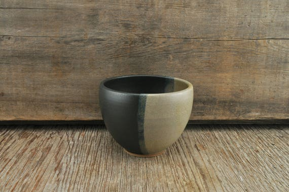Two-tone satine glaze stoneware coffee bowl