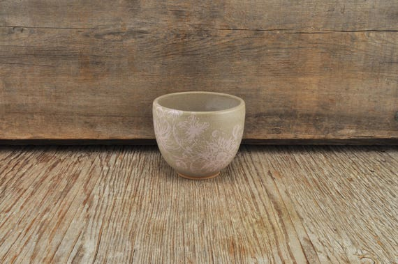 Grey stoneware coffee cup with vintage pink flower illustration