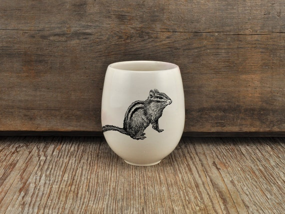 Handmade Porcelain wine tumbler with chipmunk drawing Canadian Wildlife collection