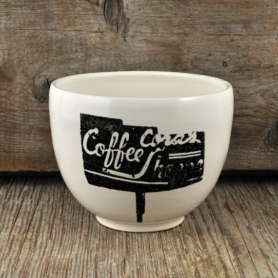 Porcelain coffee bowl with vintage COFFEE SHOP sign
