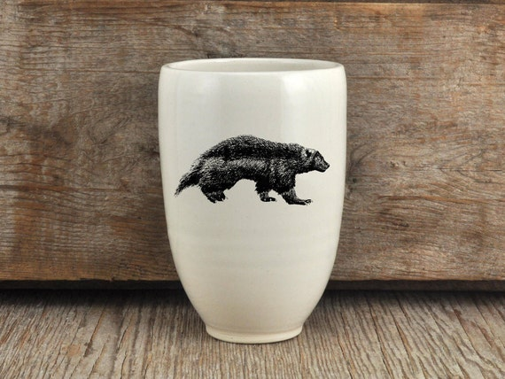 Handmade Porcelain beer tumbler with wolverine drawing Canadian Wildlife collection