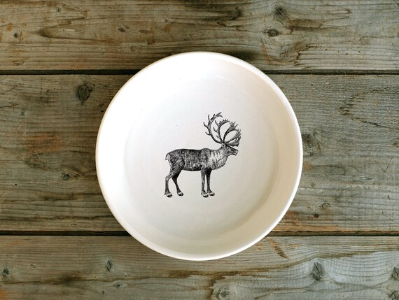 Handmade Porcelain shallow bowl/pasta bowl with woodland caribou drawing by Cindy Labrecque, Canadian Wildlife collection