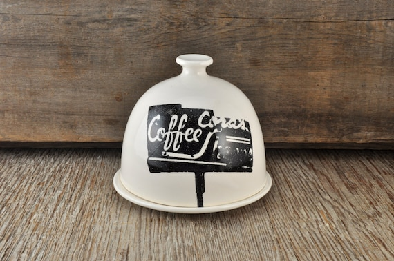 LARGE porcelain butter dish with vintage COFFEE SHOP signs