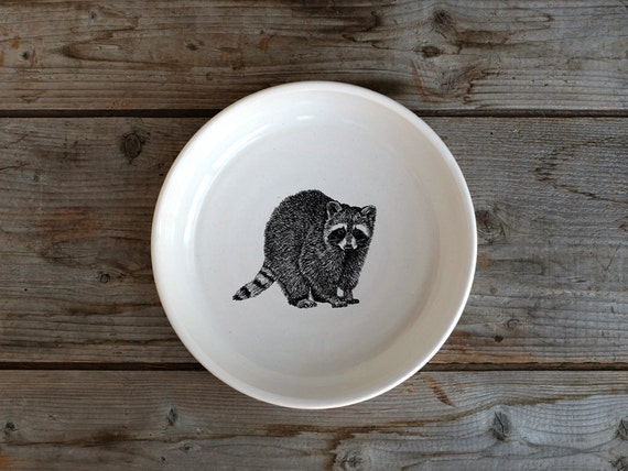 Handmade Porcelain shallow bowl/pasta bowl with raccoon drawing by Cindy Labrecque, Canadian Wildlife collection
