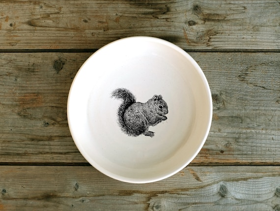 Handmade porcelain shallow bowl/pasta bowl with red squirrel drawing by Cindy Labrecque, Canadian Wildlife collection
