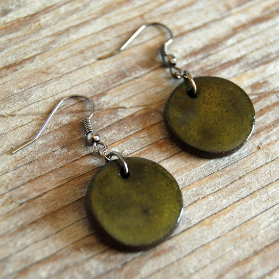 MEDIUM glossy khaki round stoneware drop earrings
