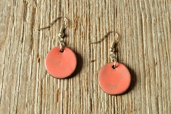 MEDIUM glossy coral round stoneware drop earrings