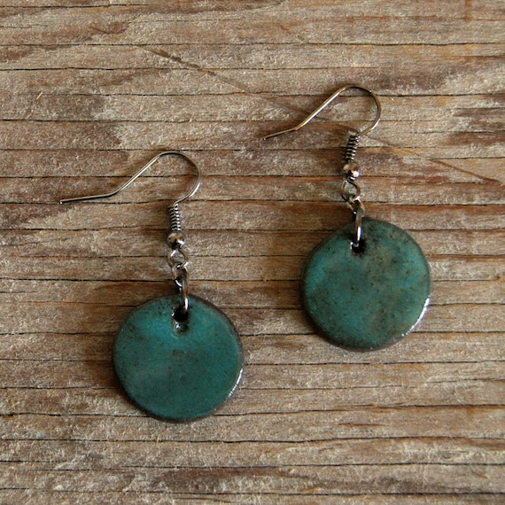 MEDIUM glossy turquoise round stoneware drop earrings
