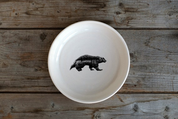 Handmade Porcelain shallow bowl/pasta bowl with wolverine drawing by Cindy Labrecque, Canadian Wildlife collection