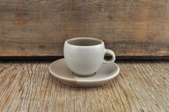 Two-tone satine glaze stoneware espresso / tea cup and saucer