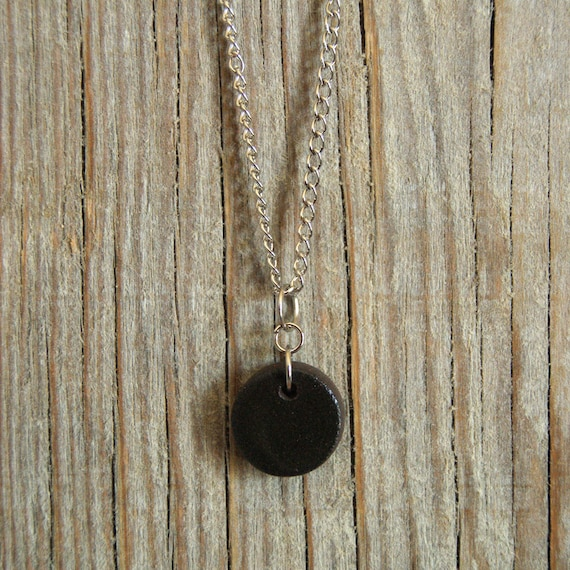 SMALL glossy black round stoneware pendant