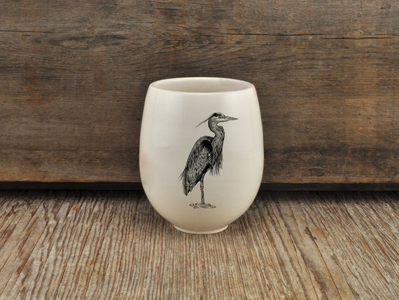 Handmade Porcelain wine tumbler with great blue heron drawing by Cindy Labrecque,  Canadian Wildlife collection