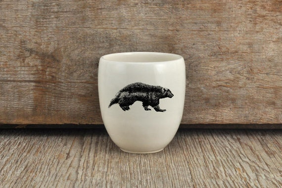 Handmade Porcelain coffee tumbler with wolverine drawing Canadian Wildlife collection