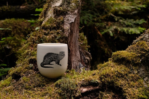 Handmade Porcelain coffee tumbler with River Otter drawing Canadian Wildlife collection