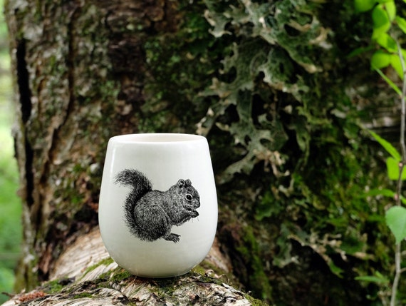 Handmade Porcelain wine tumbler with red squirrel drawing Canadian Wildlife collection