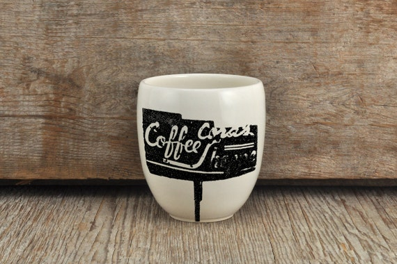 Porcelain coffee tumbler with vintage coffee shop sign photograph by Cindy Labrecque