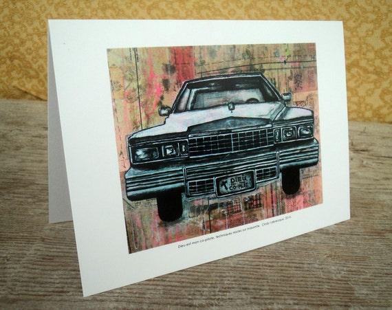 Vintage car blank greeting card
