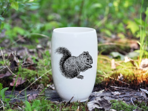 Handmade Porcelain beer tumbler with red squirrel drawing Canadian Wildlife collection