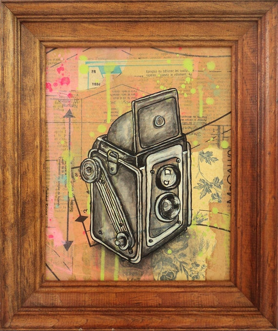 Kodak Duaflex Camera Original Framed Painting by Cindy Labrecque, 8 x 10 inches.