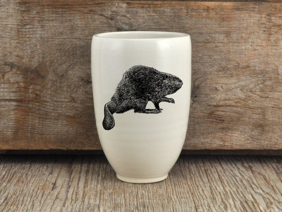 Handmade porcelain beer tumbler with North American beaver drawing Canadian Wildlife collection