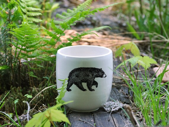 Handmade Porcelain coffee tumbler with American black bear drawing Canadian Wildlife collection