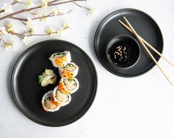 READY TO SHIP - side / lunch / diner porcelain plate - black / white // satin / glossy finish