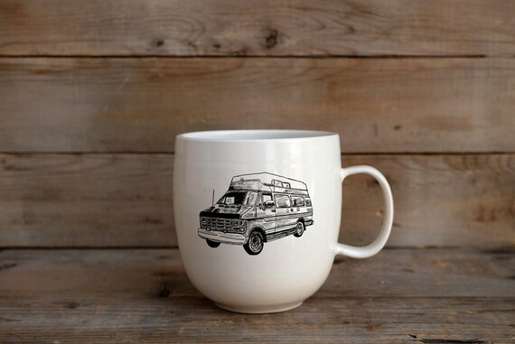 Porcelain coffee mug with vintage campwagon drawing by Cindy Labrecque
