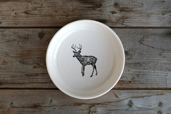 Handmade Porcelain shallow bowl/pasta bowl with white-tailed deer drawing by Cindy Labrecque, Canadian Wildlife collection