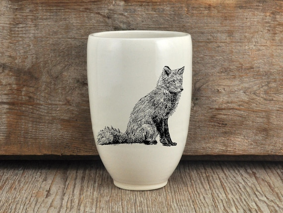 Handmade Porcelain beer tumbler with red fox drawing Canadian Wildlife collection
