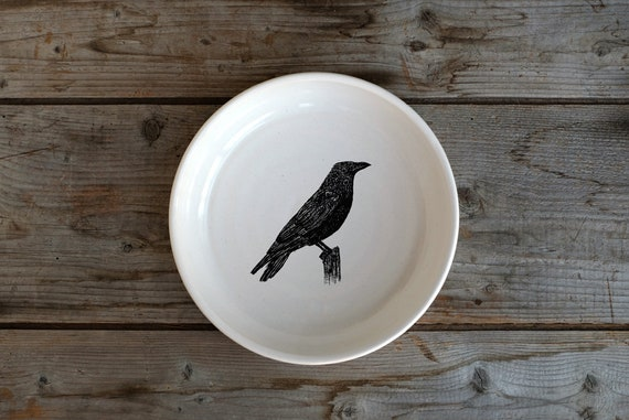Handmade Porcelain shallow bowl/pasta bowl with American crow drawing by Cindy Labrecque, Canadian Wildlife collection
