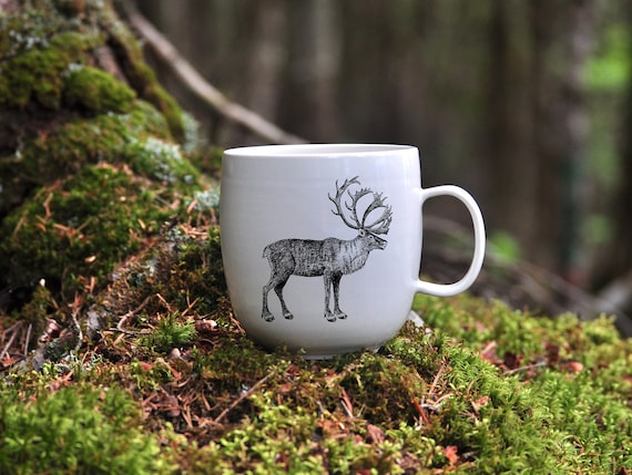 Handmade Porcelain coffee mug with Woodland Caribou drawing Canadian Wildlife collection