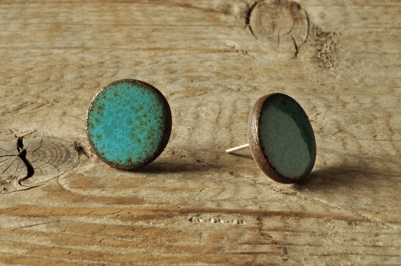 SMALL glossy aqua round stoneware stud earrings