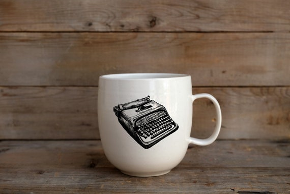 Porcelain coffee mug with vintage typewriter drawing by Cindy Labrecque