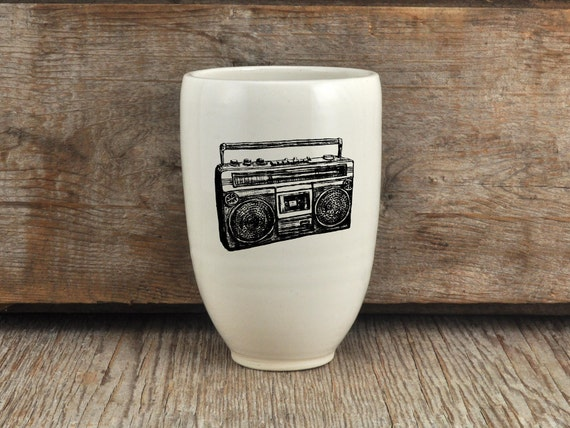 Porcelain beer tumbler with vintage radio drawing by Cindy Labrecque