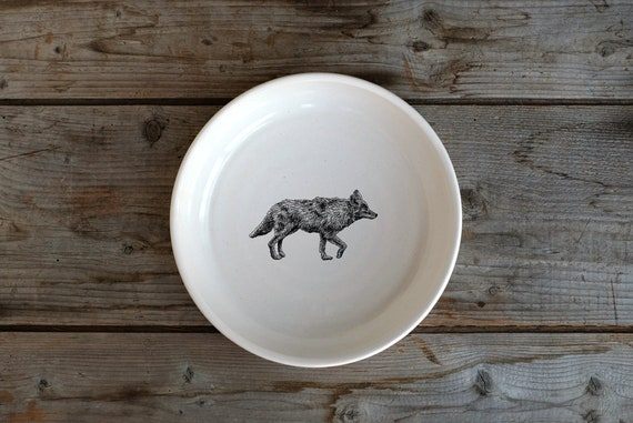 Handmade Porcelain shallow bowl/pasta bowl with coyote drawing by Cindy Labrecque, Canadian Wildlife collection