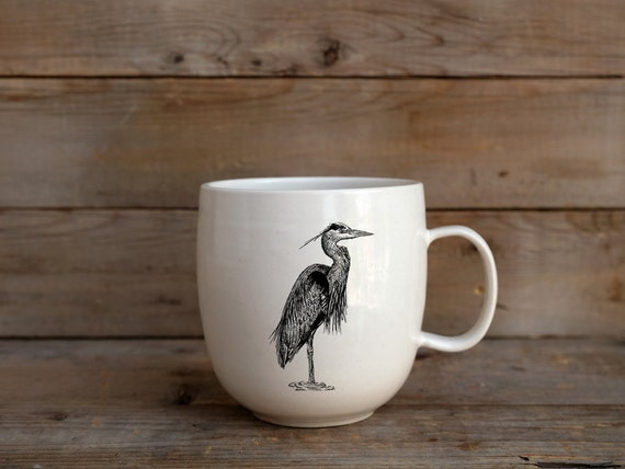Handmade Porcelain coffee mug with Great blue heron drawing Canadian Wildlife collection