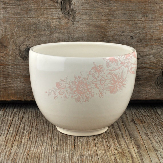 Porcelain coffee bowl with vintage pink flower illustration
