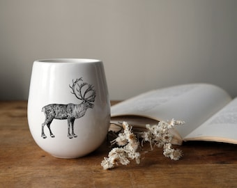 MADE TO ORDER porcelain wine tumbler with wild animal drawing Canadian Wildlife collection