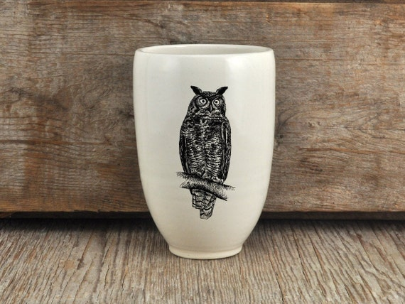 Handmade Porcelain beer tumbler with Great horned owl drawing Canadian Wildlife collection