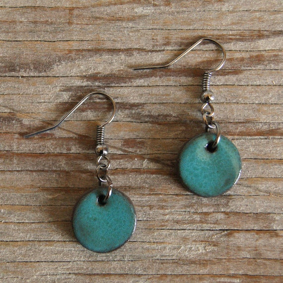 SMALL glossy turquoise round stoneware drop earrings