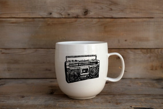 Porcelain coffee mug with vintage radio drawing by Cindy Labrecque