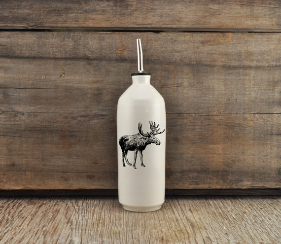 Handmade white glossy porcelain cruet with moose drawing by Cindy Labrecque, Canadian Wildlife collection