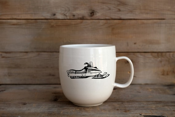 Porcelain coffee mug with vintage snowmobile drawing by Cindy Labrecque